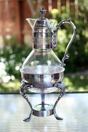 GLASS & SILVER COFFEE POT - $15