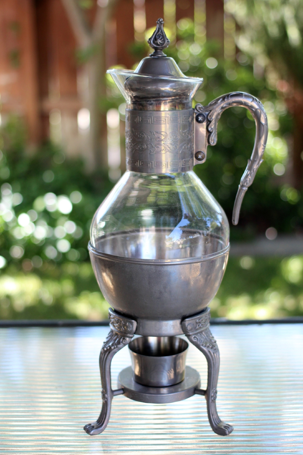 SILVER & GLASS COFFEE SERVER - $15 Available with delivered orders only