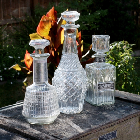 WHISKEY DECANTERS - $15 - set of three    MORE DETAILS & PICS...