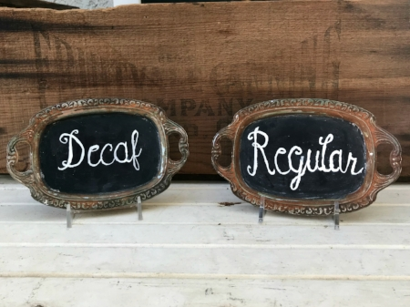 "SMALL RUSTY SILVER TRAYS ""Regular & Decaf"" - $5 EACH Size: 4-1/2"" x 7"" overall size"