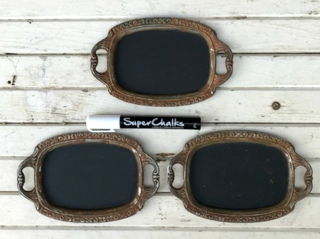 "SMALL, BLANK RUSTY CHALKBOARD TRAYS  Write your own drink selections or message- $5/ea Qty available - 3 Size:  3-1/2"" x 5""- chalkboard area"