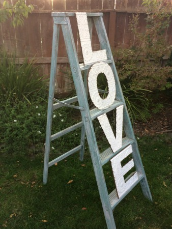 5 FT TALL LADDER - Ladder Only - $25  with tin-type L.O.V.E. Letters as shown - $50