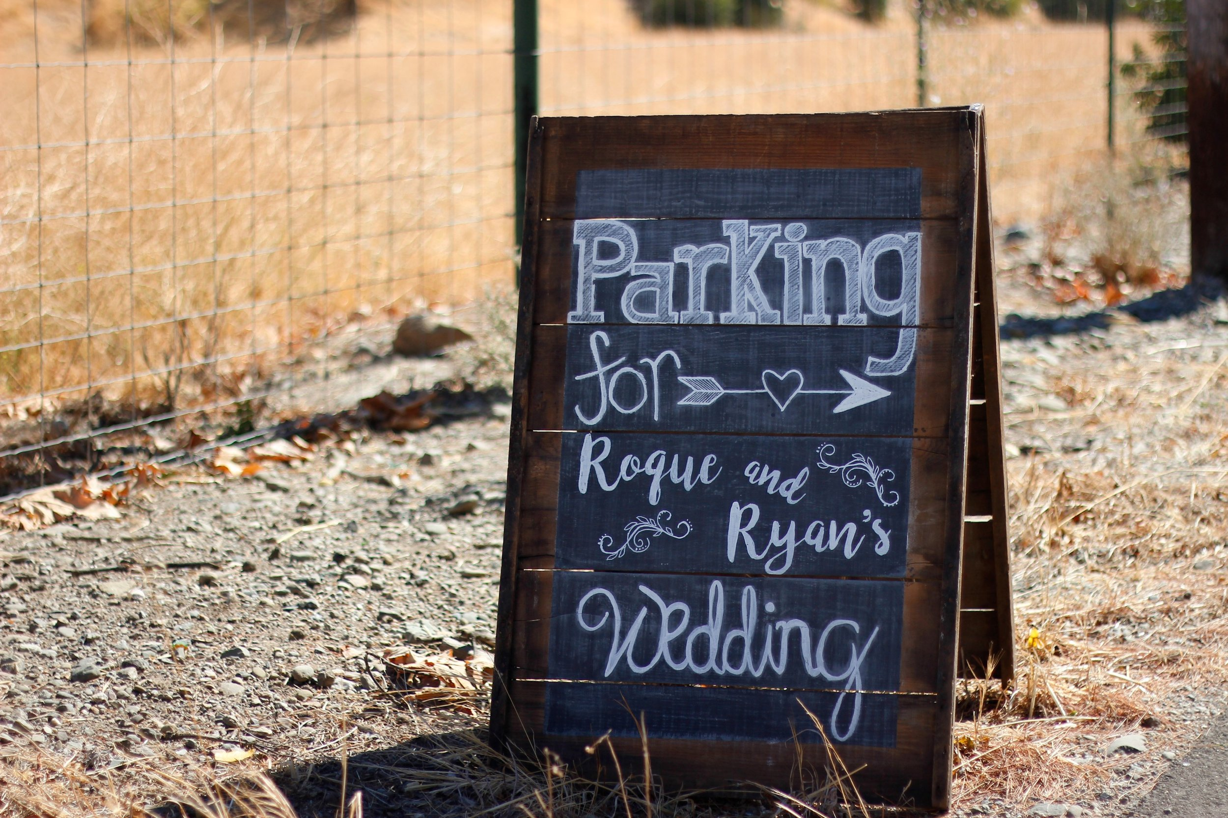 "Double-sided ""Parking"" chalkboard for Roque & Ryan"