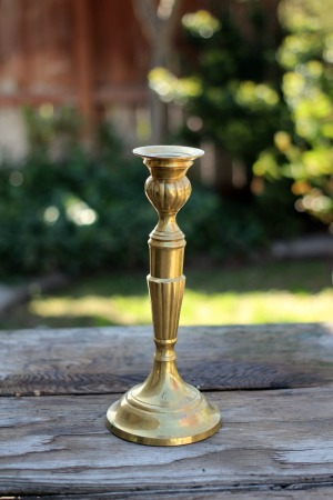 """HELENA"" - Art Deco Brass Taper Candlestick Qty Available - 1   RENT FOR $8"