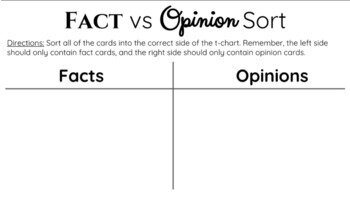 It doesn't get much simpler than the fact vs opinion chart