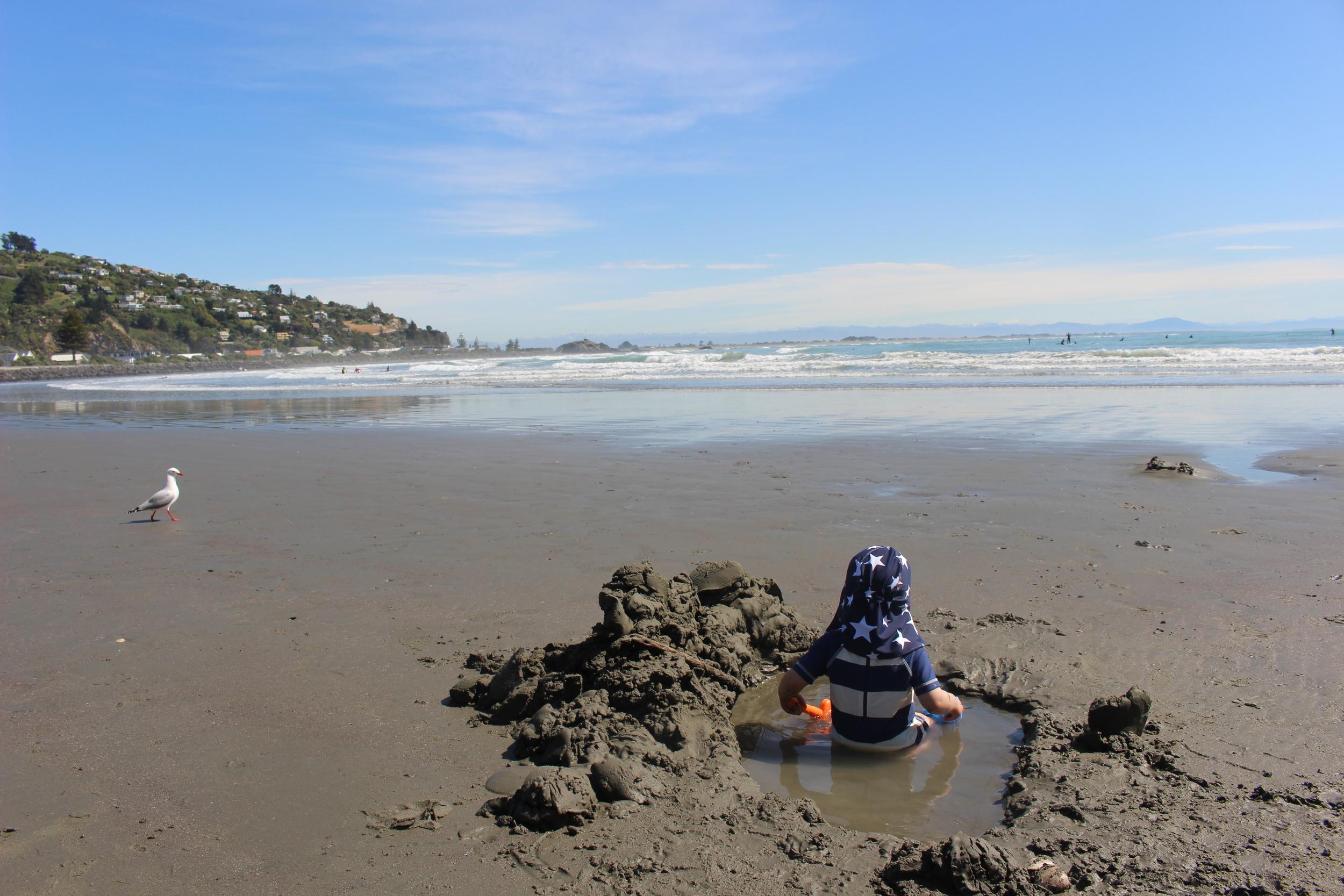 Sunstone marketing lad enjoys Sumner Beach, Christchurch, NZ