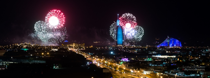 Fireworks display in Dubai right before the world record setting Palm Jumeirah fireworks show.