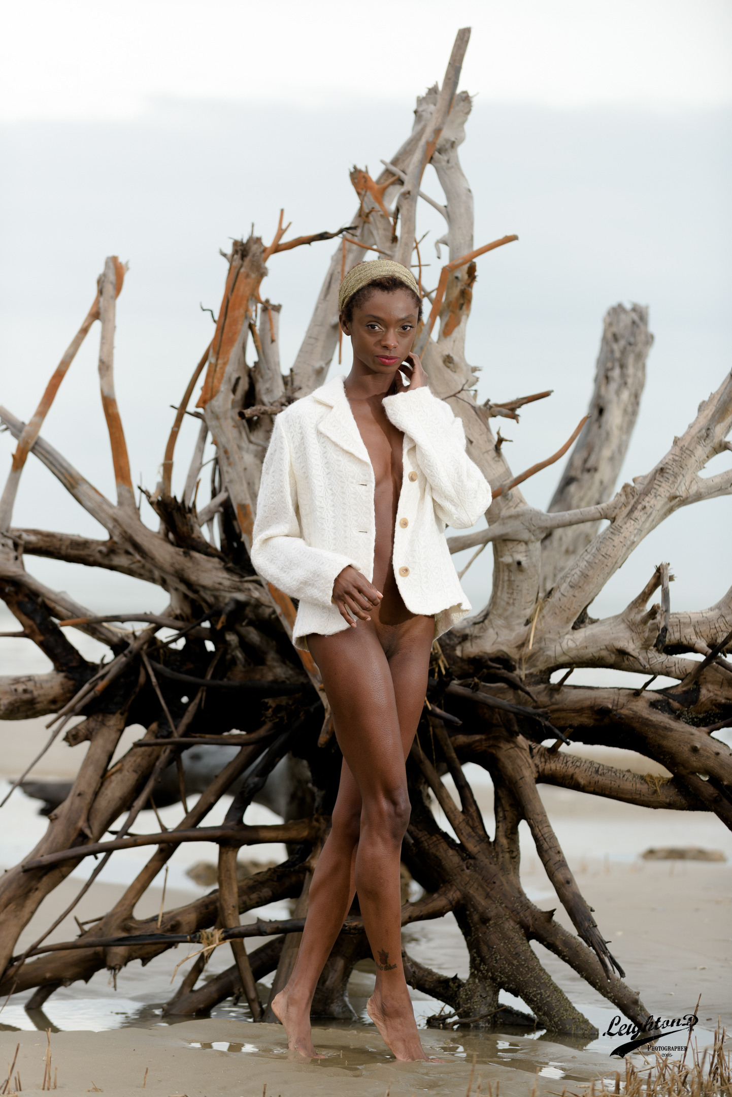 Shante wearing a coat from the photographer's collection
