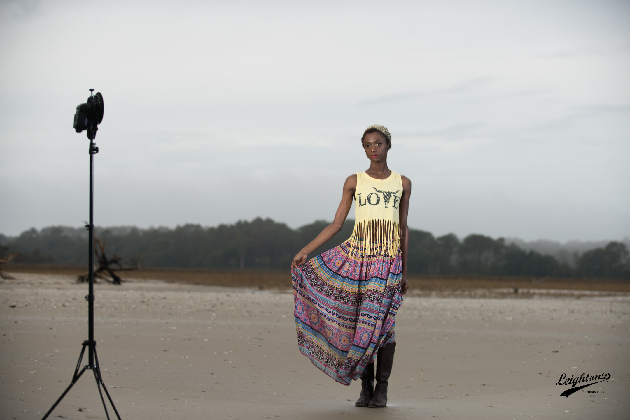 Shante wearing the Love fringe tank from Starcrush Boutique and a skirt from the photographer's private collection