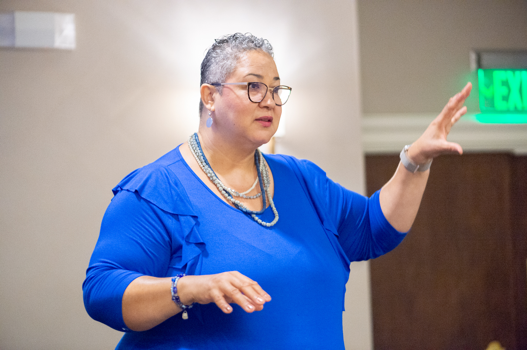 Donna Maria Coles Johnson speaks on day three of the United States Lavender Conference in Charleston, South Carolina.