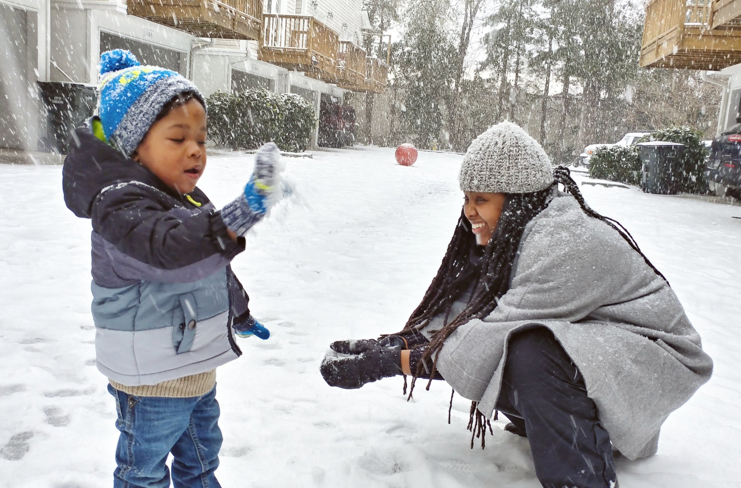 My Wife and Son on a Snow Day. Charleston, SC (Jan 2018)