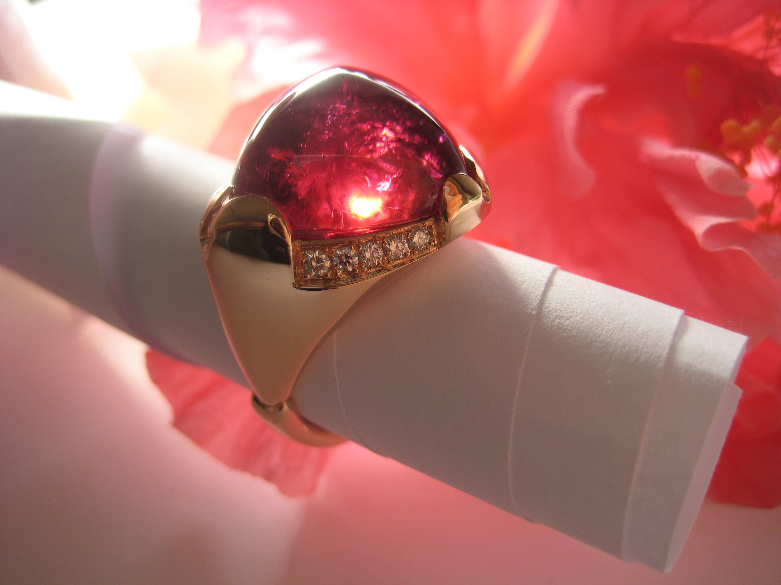 rubellite tourmaline & pink gold ring with white gold details POA