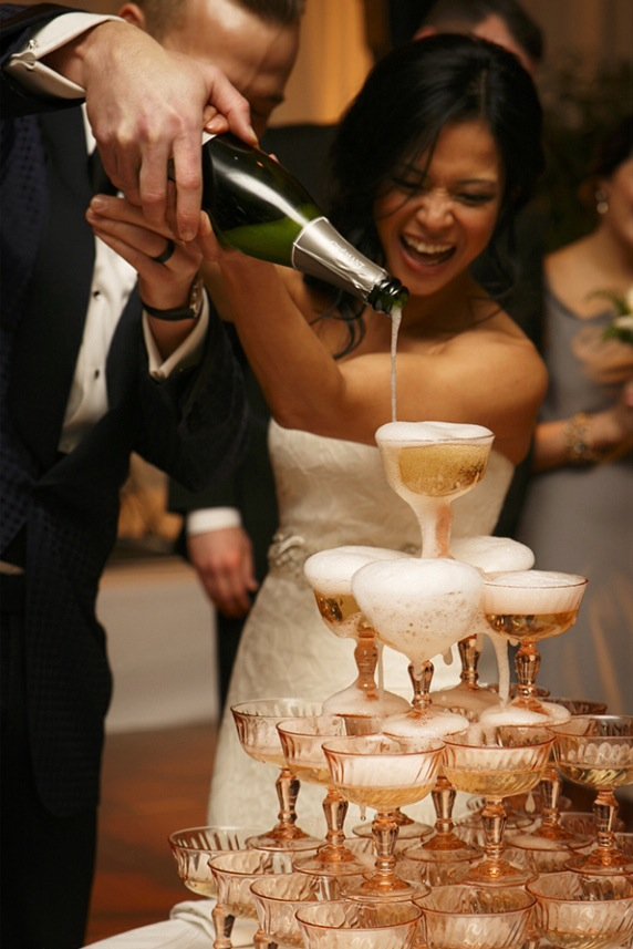 Rose coupe champagne tower at the  Peninsula Hotel , design by  Estera Events , photo by  Husar Photography