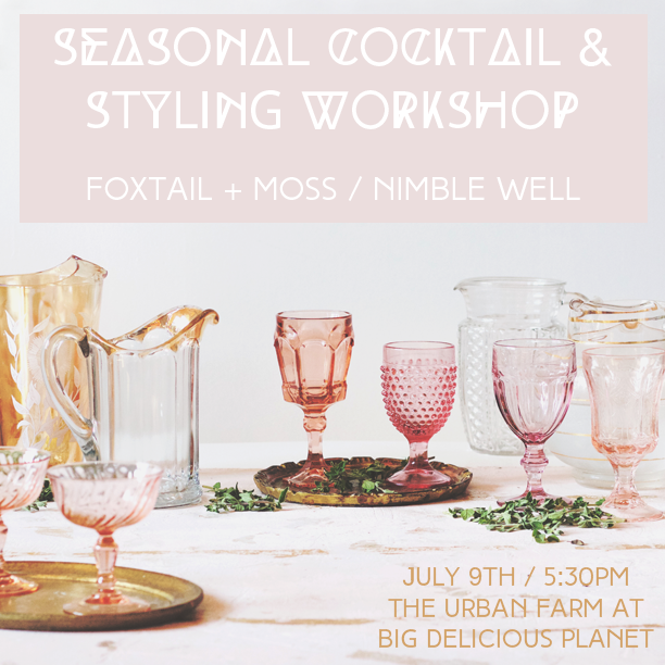 Foxtail-and-Moss-Nimble-Well-Big-Delicious-Planet-Chicago-summer-cocktails-vintage-styling-workshop