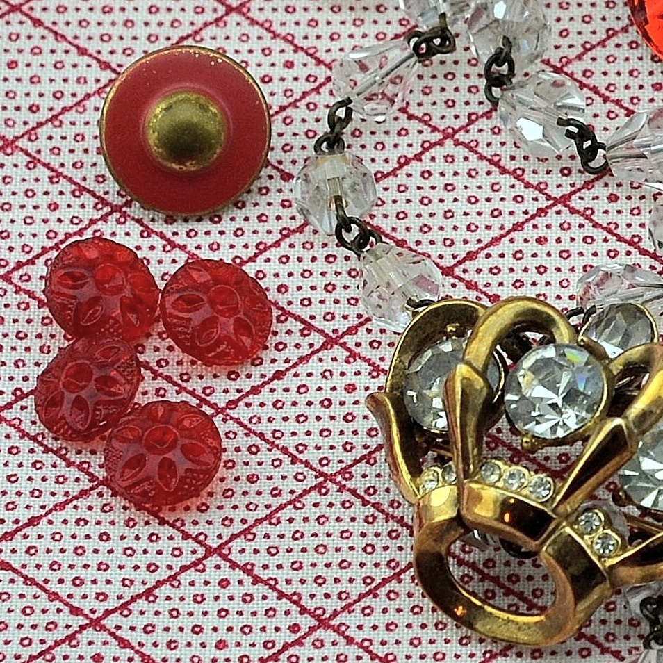 Red Inspiration Board at MRS Designs - Buttons and Brooch.JPG