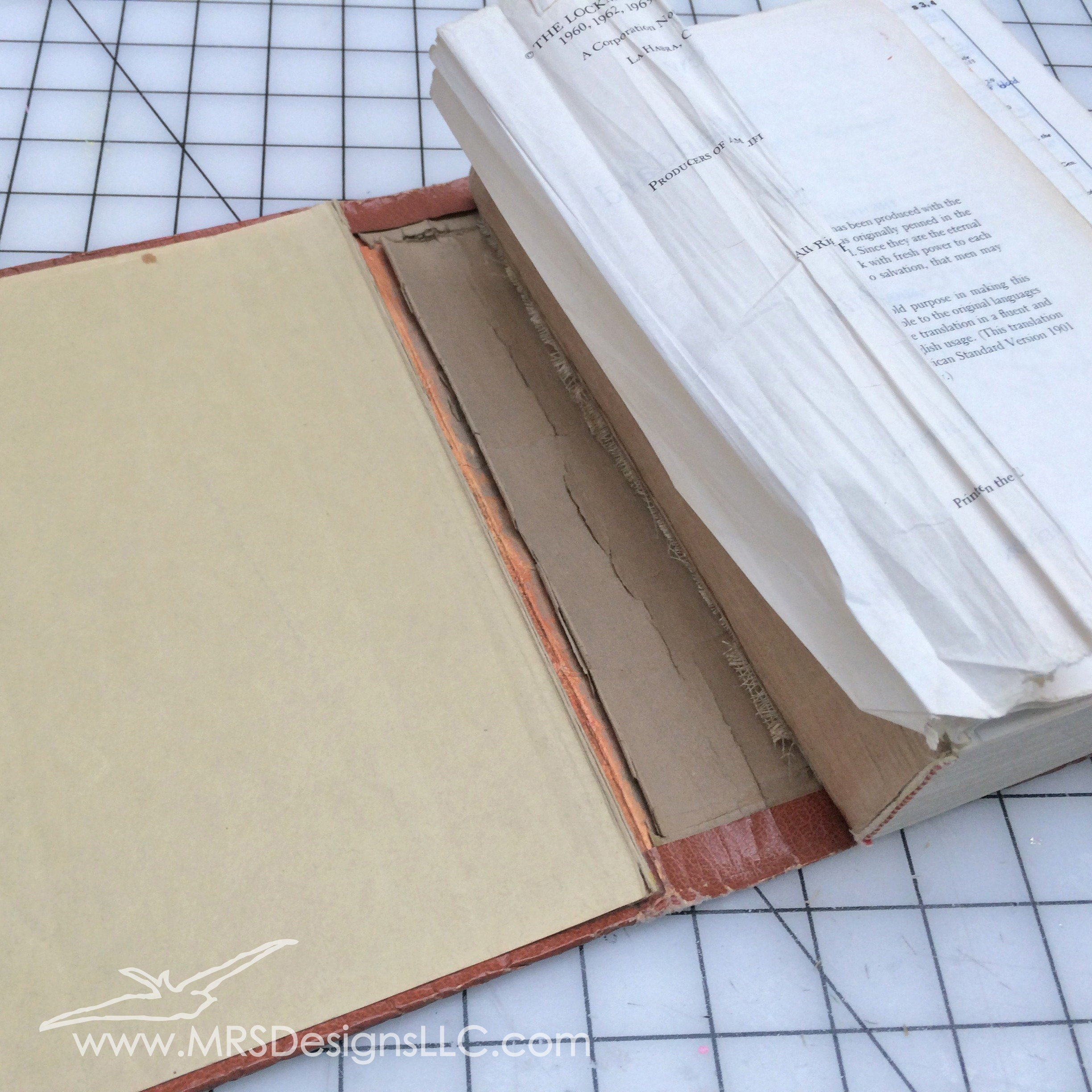 MRS Designs Blog - Paint and Decoupage an Old Book Cover, Inside View.jpg