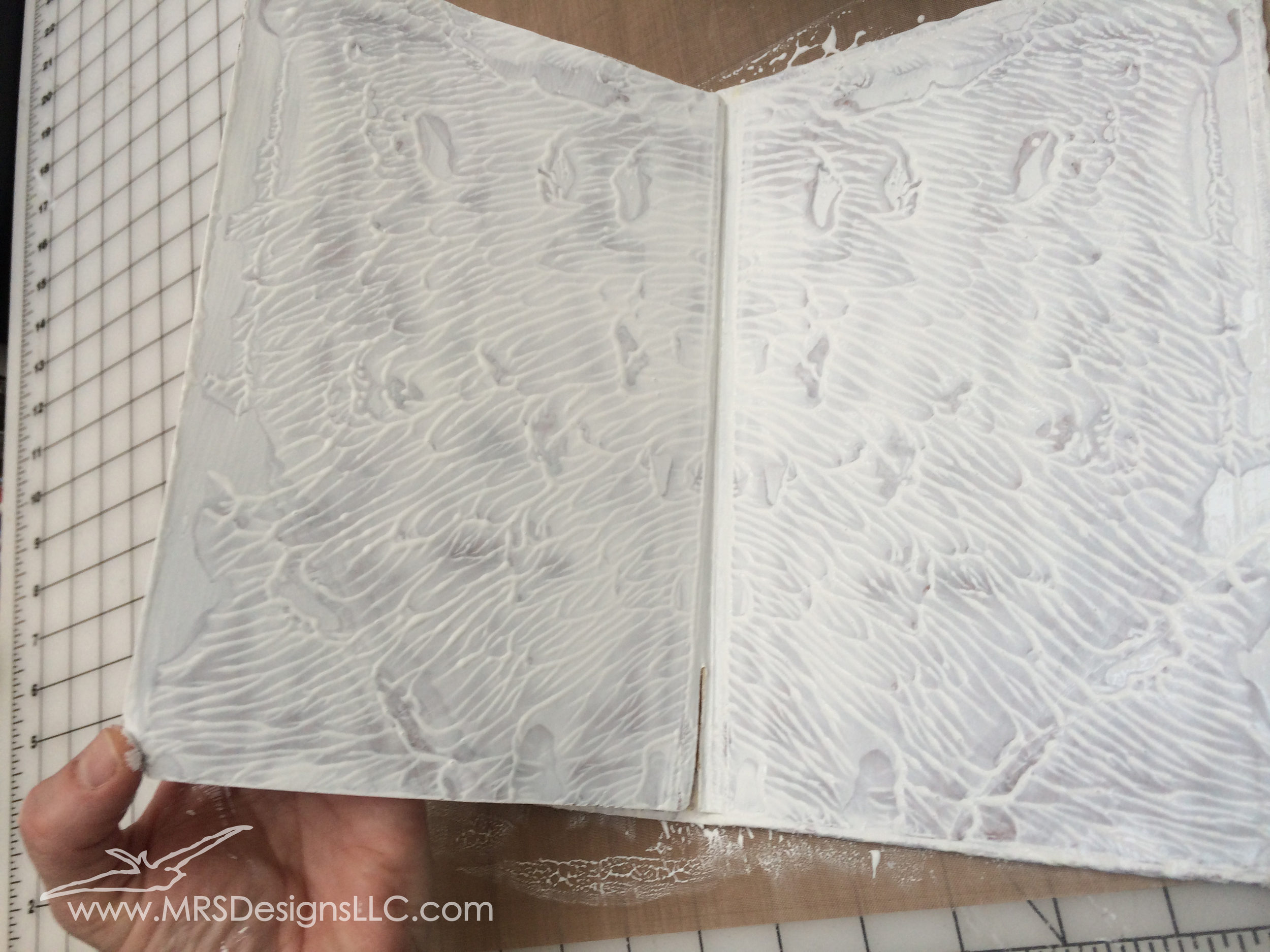 MRS Designs Blog - Paint and Decoupage an Old Book Cover - Annie Sloan Paint Inside Pages