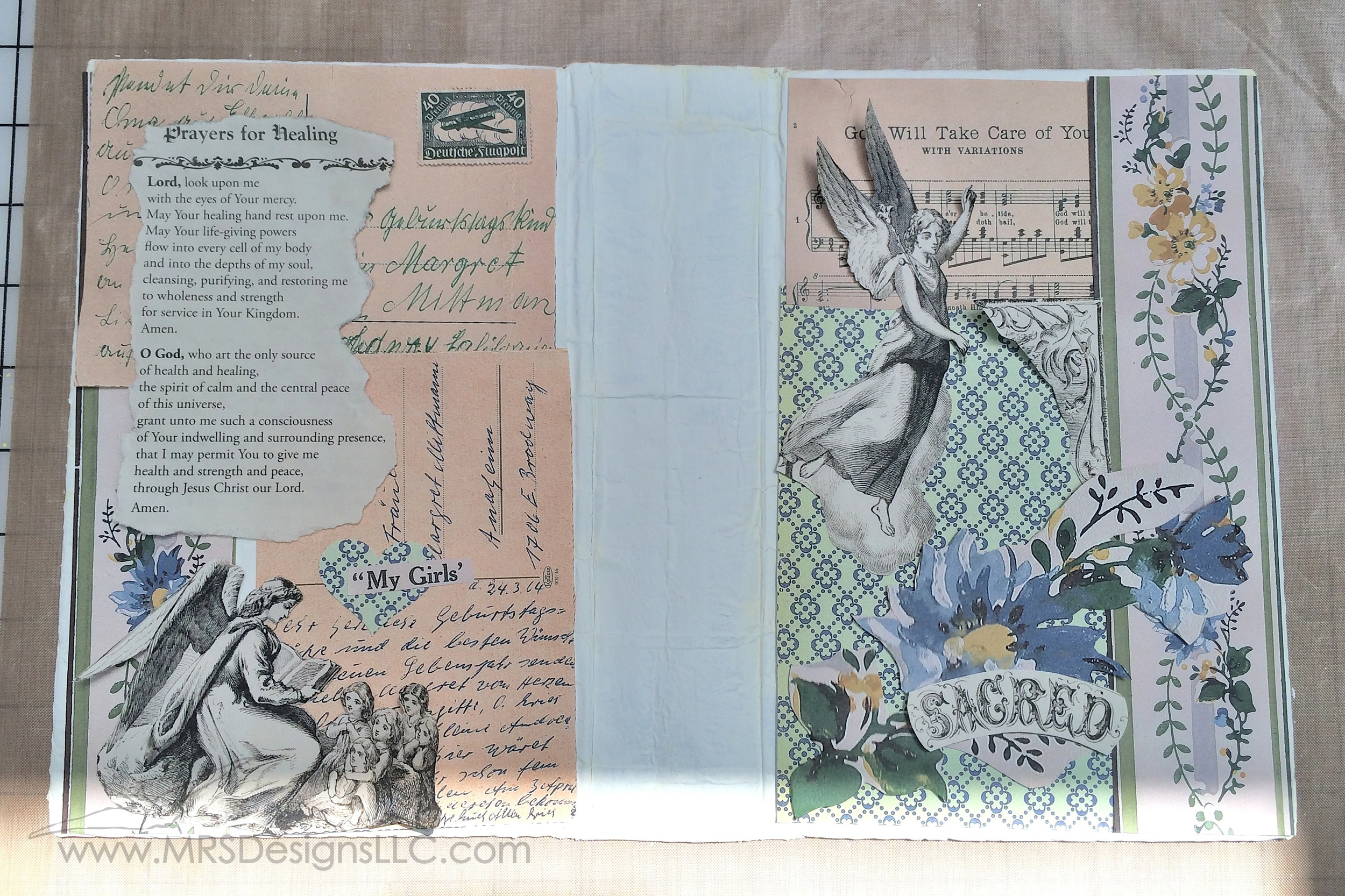 MRS Designs Blog - Paint and Decoupage an Old Book Cover; embellishing the outside