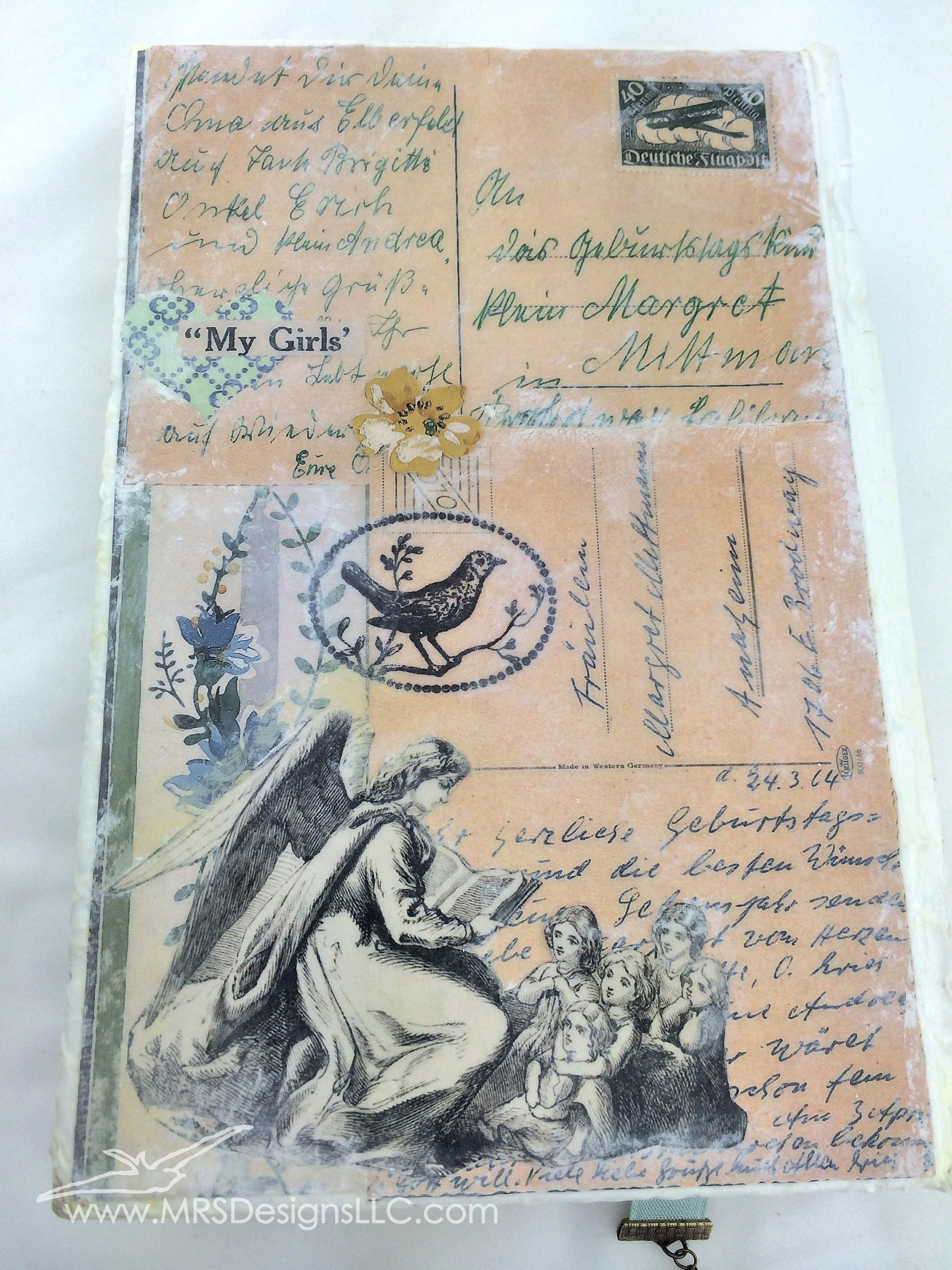 MRS Designs Blog - Paint and Decoupage an Old Book Cover; final product cover