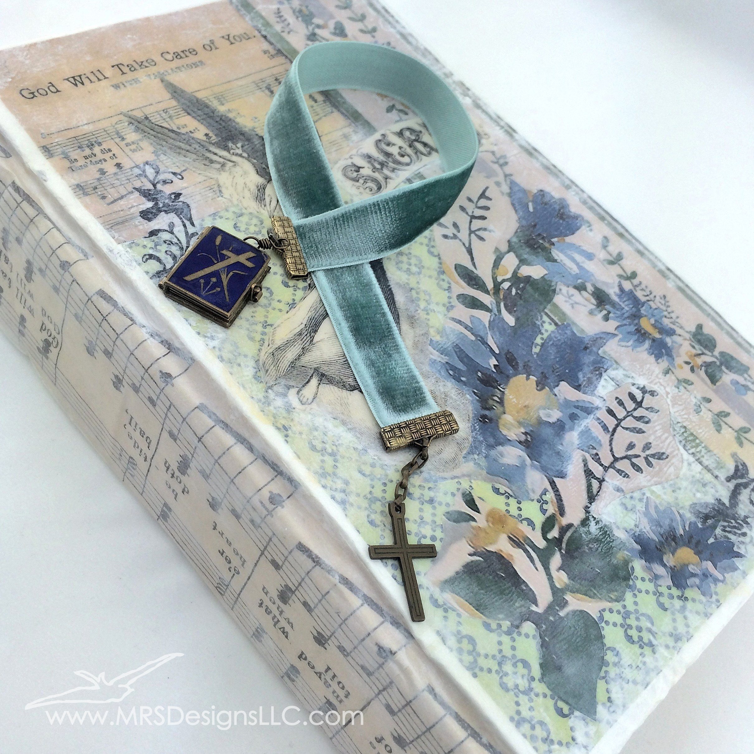 MRS Designs Blog - Paint and Decoupage an Old Book Cover Finished Product