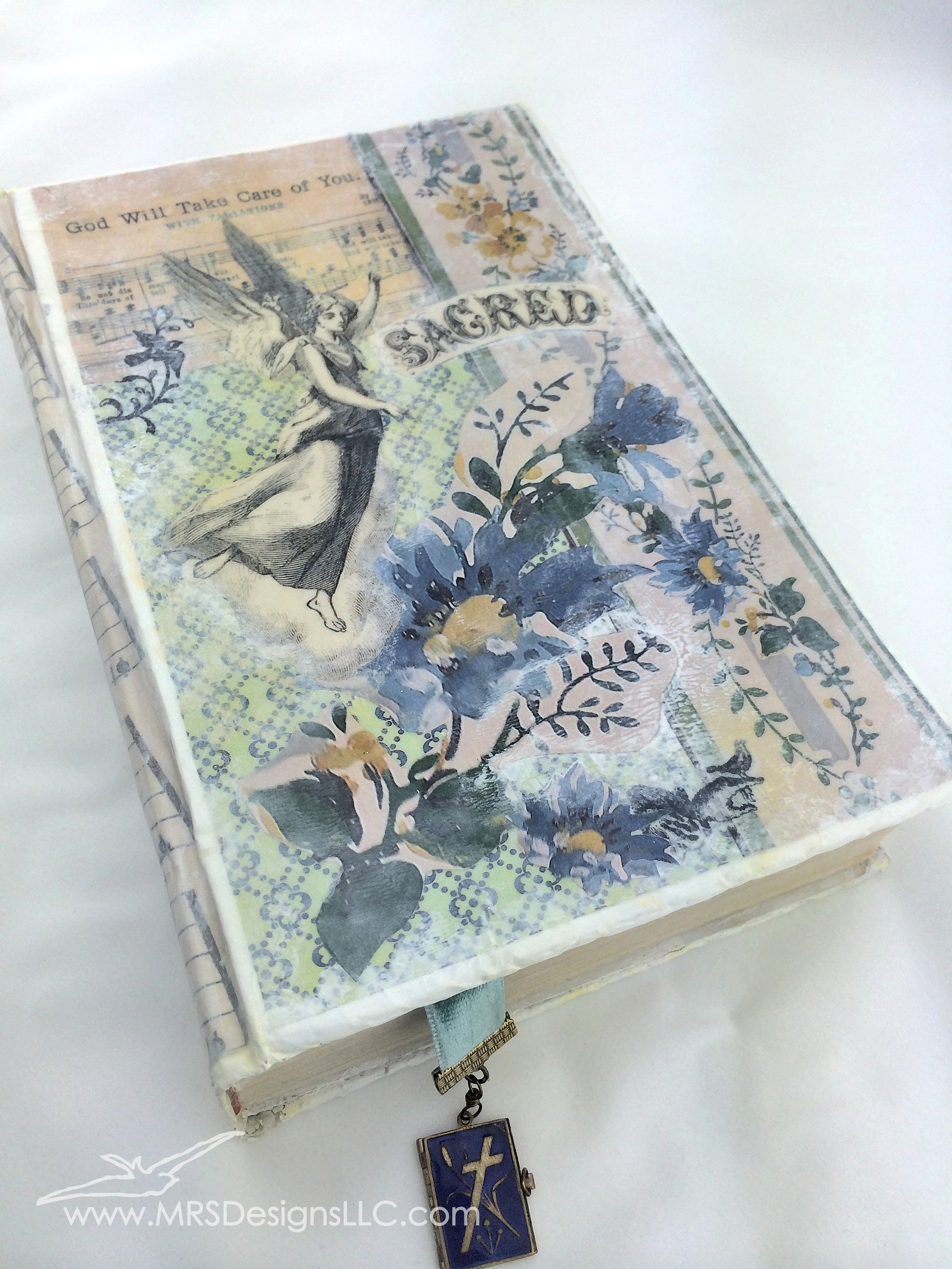 MRS Designs Blog - Paint and Decoupage an Old Book Cover; final product