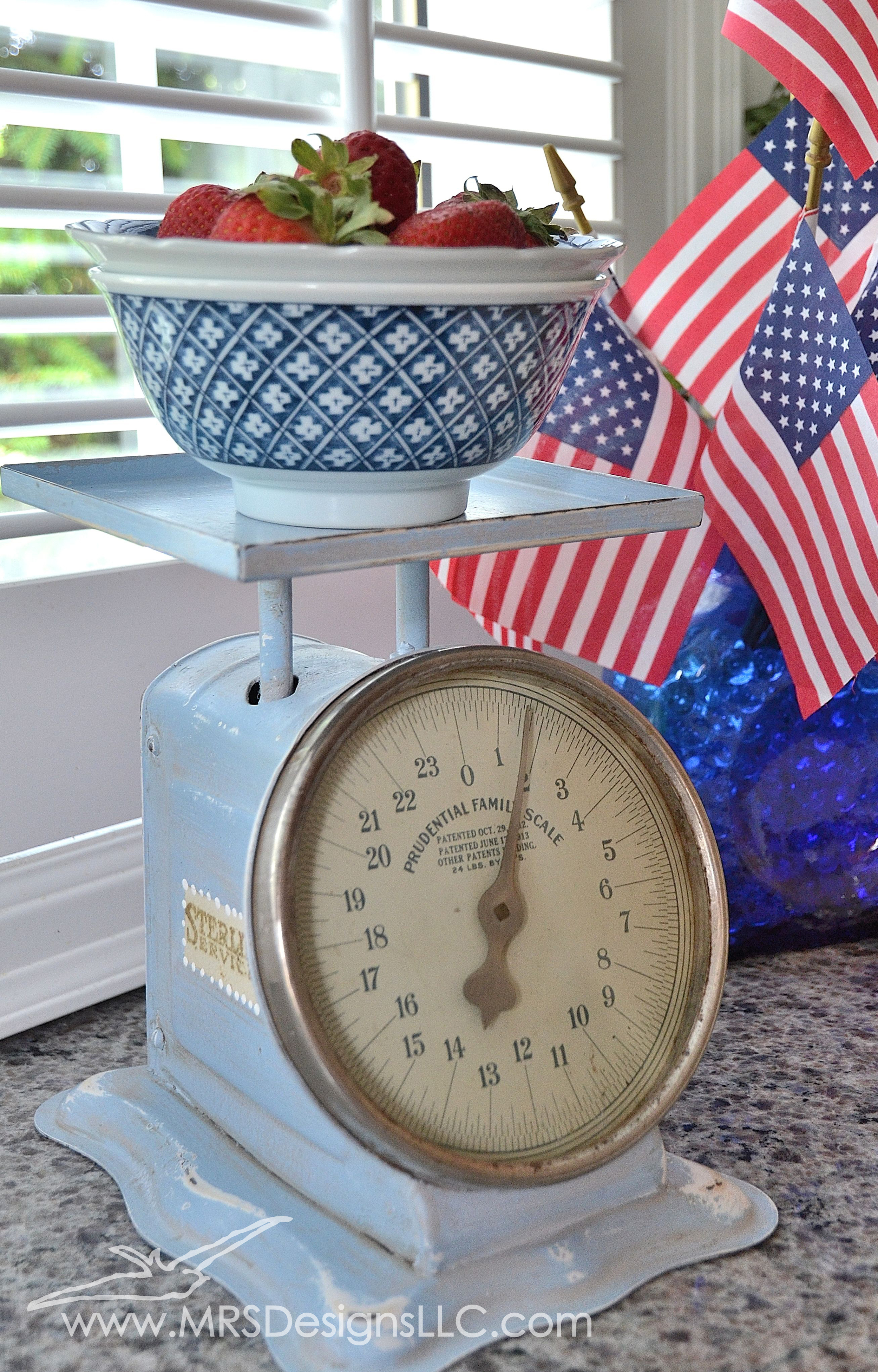 MRS Designs Blog - Using Vintage Scales to Decorate Your Home. Refinished scale, close up view