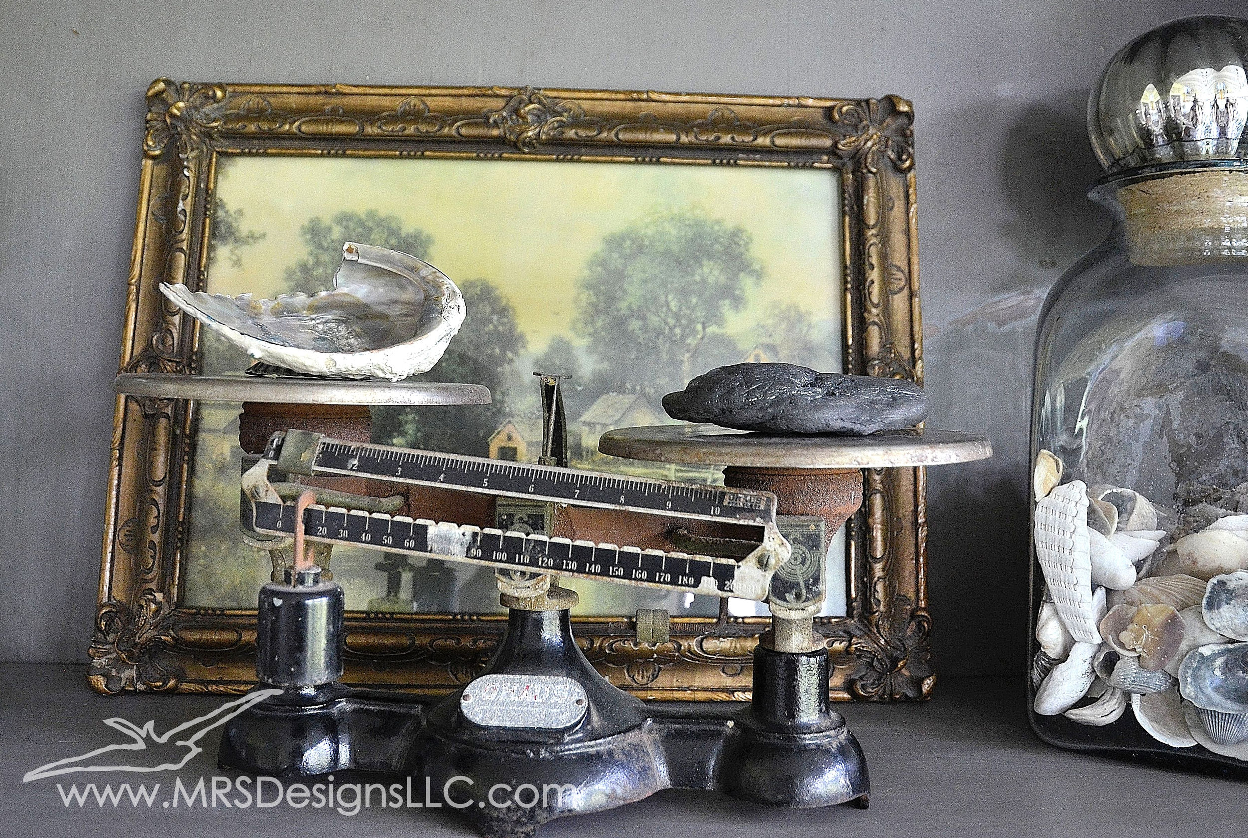 MRS Designs Blog - Using Vintage Scales to Decorate Your Home. Play around with props of different weights