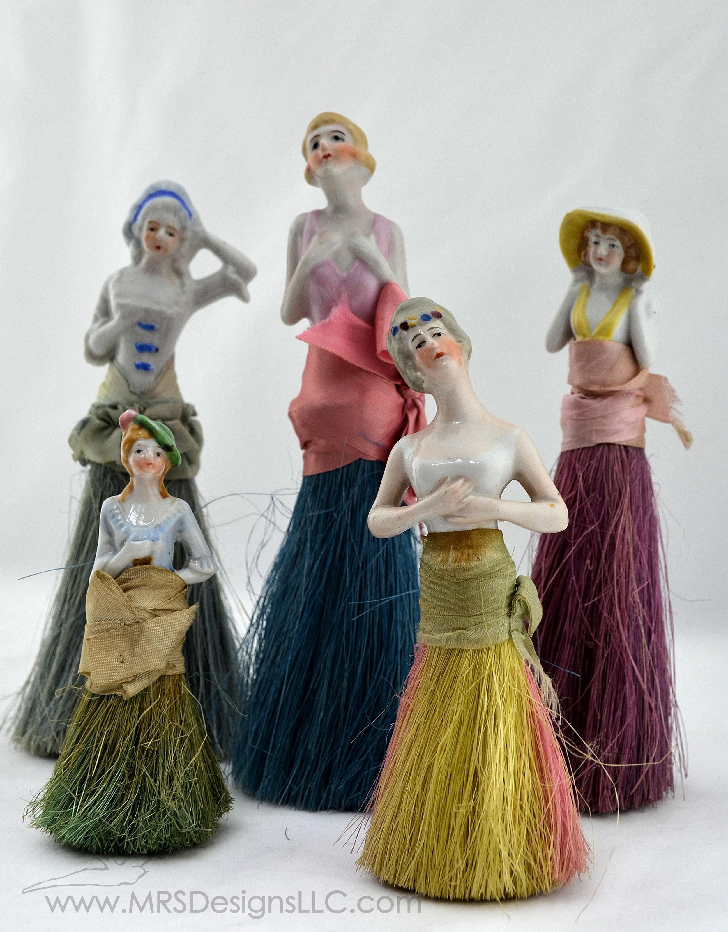 MRS Designs Blog - Vintage Half Dolls with Broom Bottoms