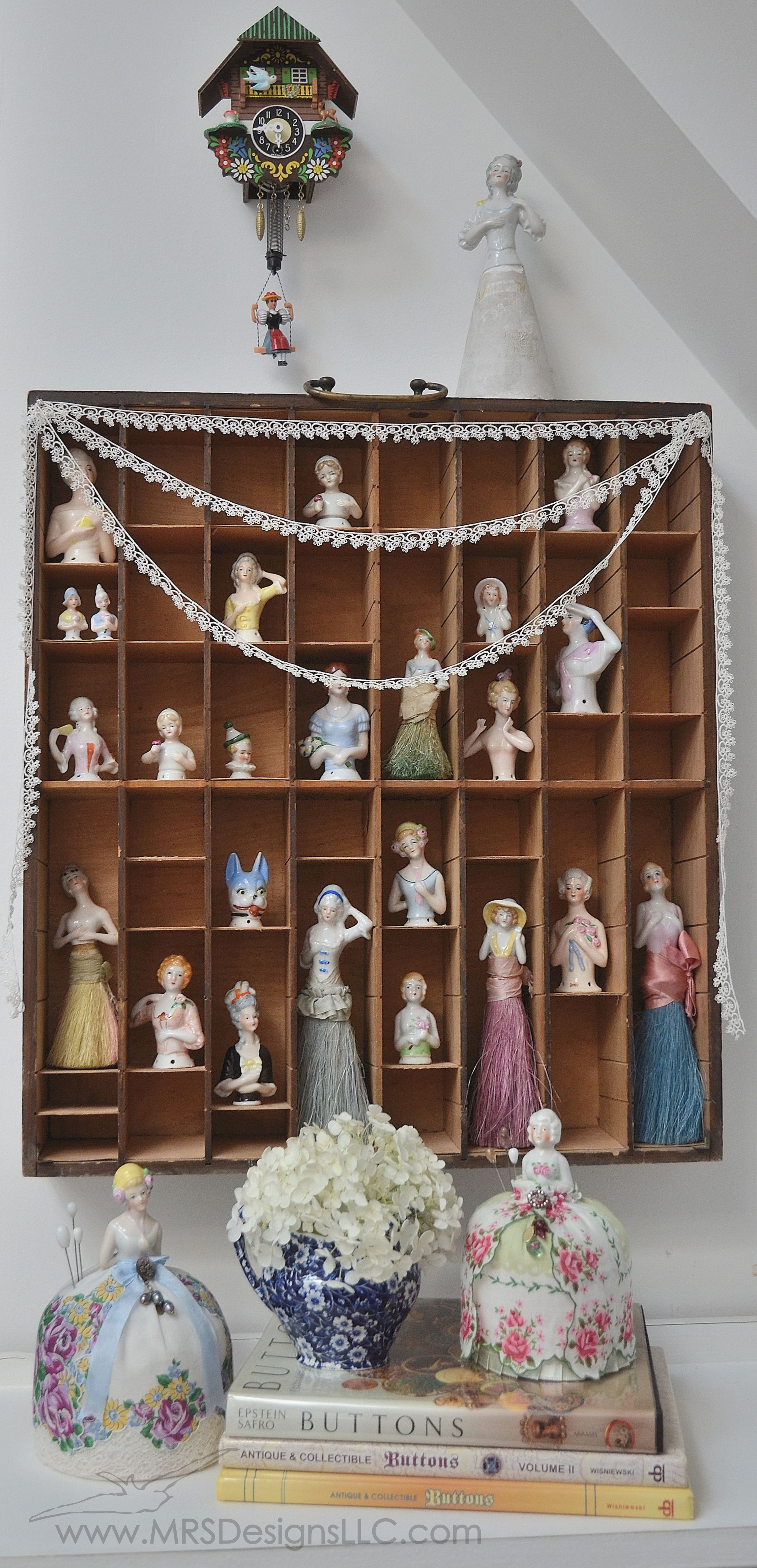 MRS Designs Blog - Vintage Half Doll Collection with Two Refinished