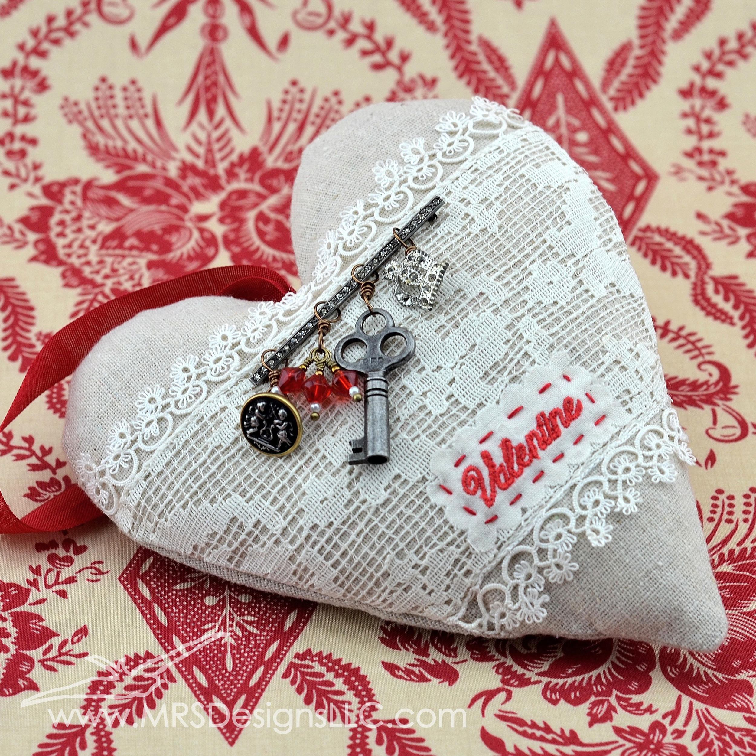 MRS Designs - Heart Pillows with Vintage Lace, Button, and Pin