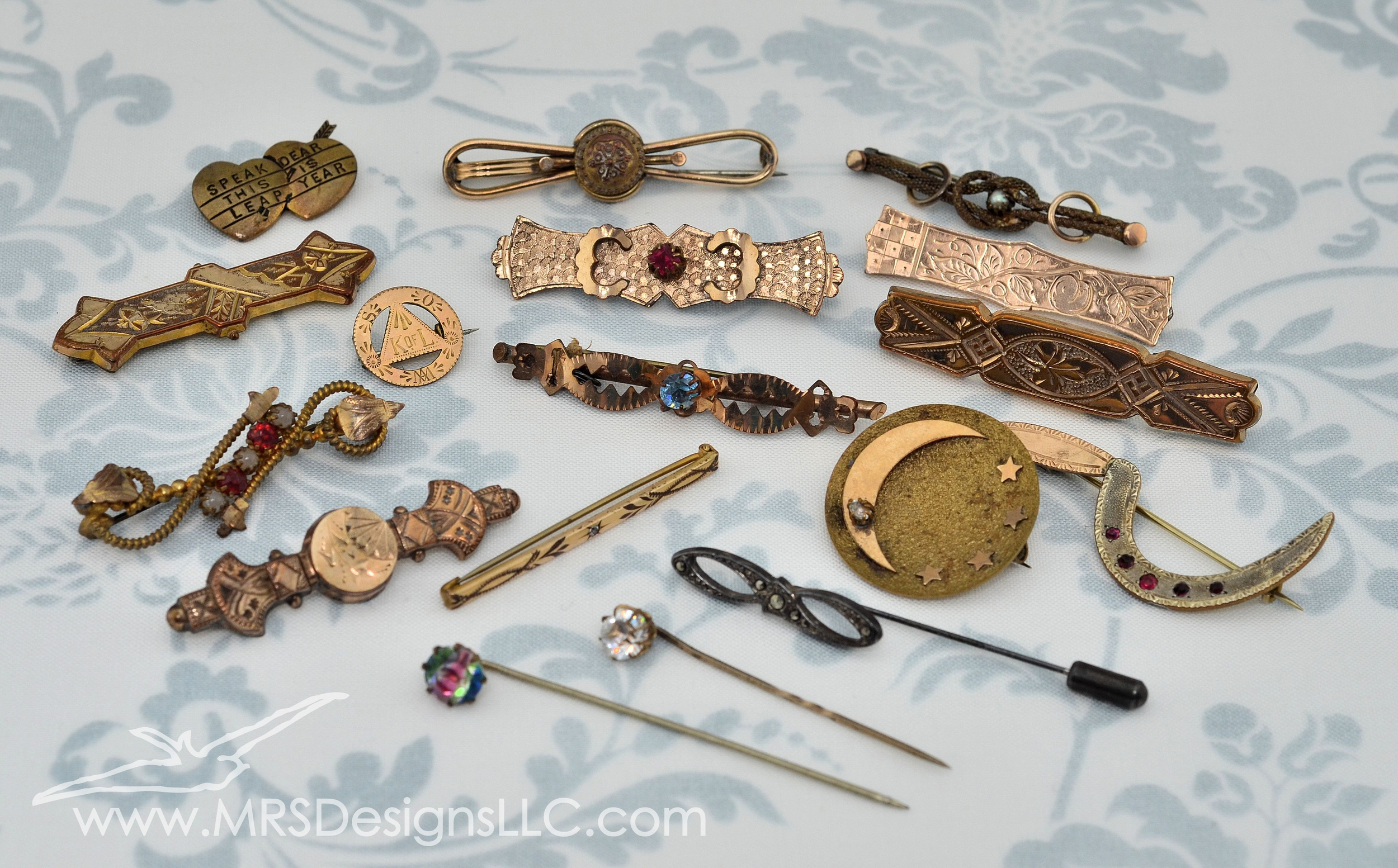 MRS Designs Blog - Vintage Pins from a Live Auction