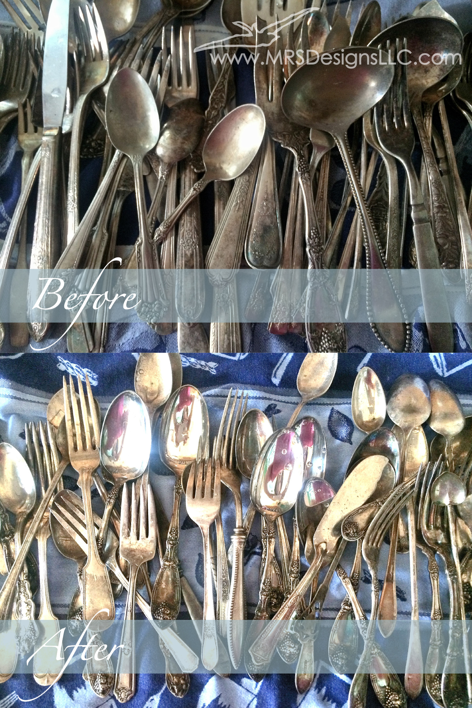 MRS Designs Blog - Vintage Silverware Before and After