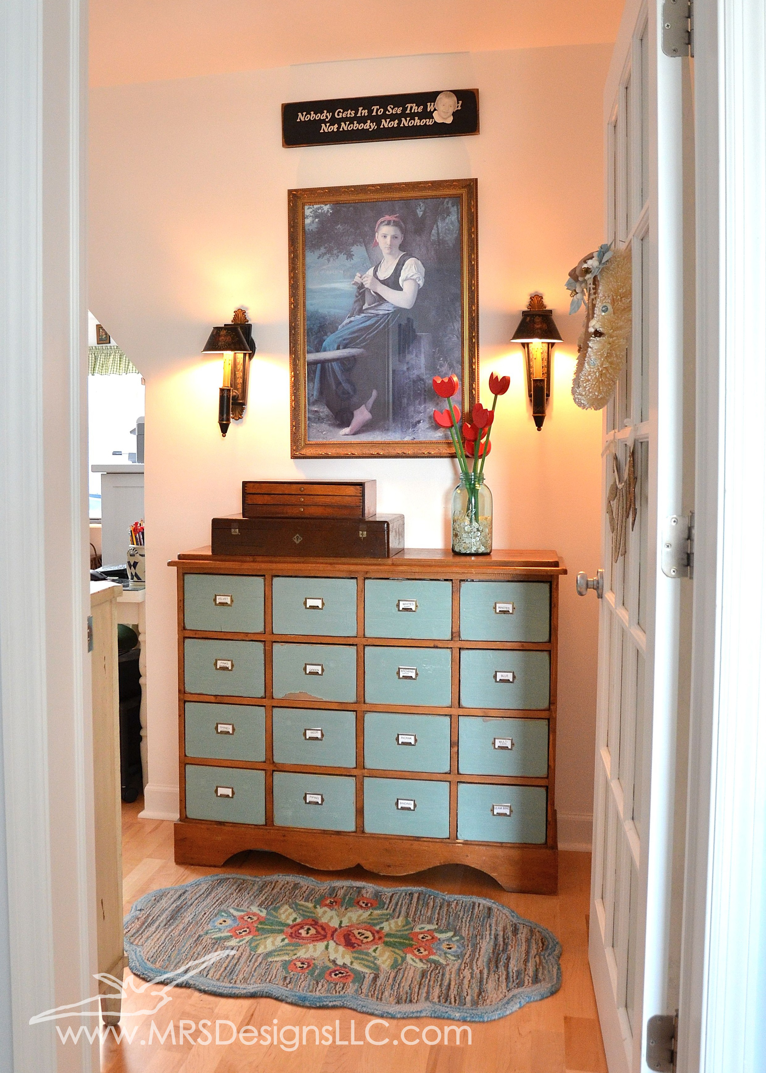 MRS Designs Blog - Refinishing a Vintage Storage Cabinet, Welcome to My Craft Room!