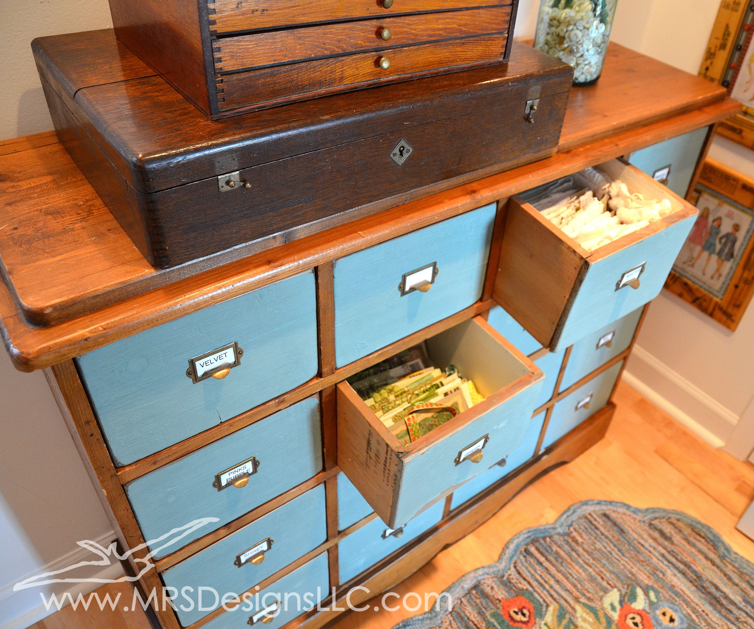 MRS Designs Blog - Refinishing a Vintage Storage Cabinet. I use it in my craft room for storing ribbon and lace