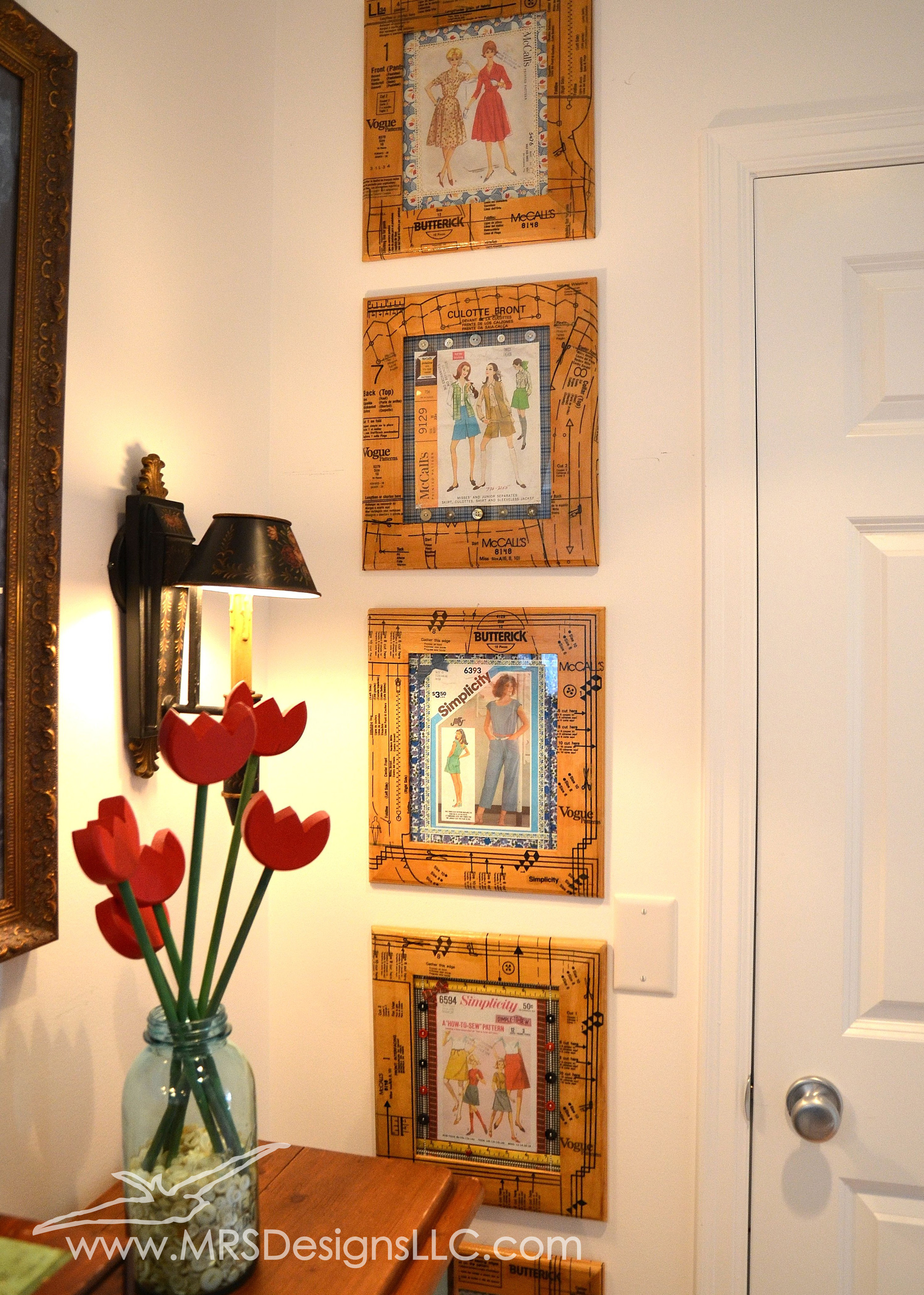 MRS Designs Blog - Decoupage unfinished frames with sewing patterns for a fun crafty look! Use vintage patterns you have used for a keepsake