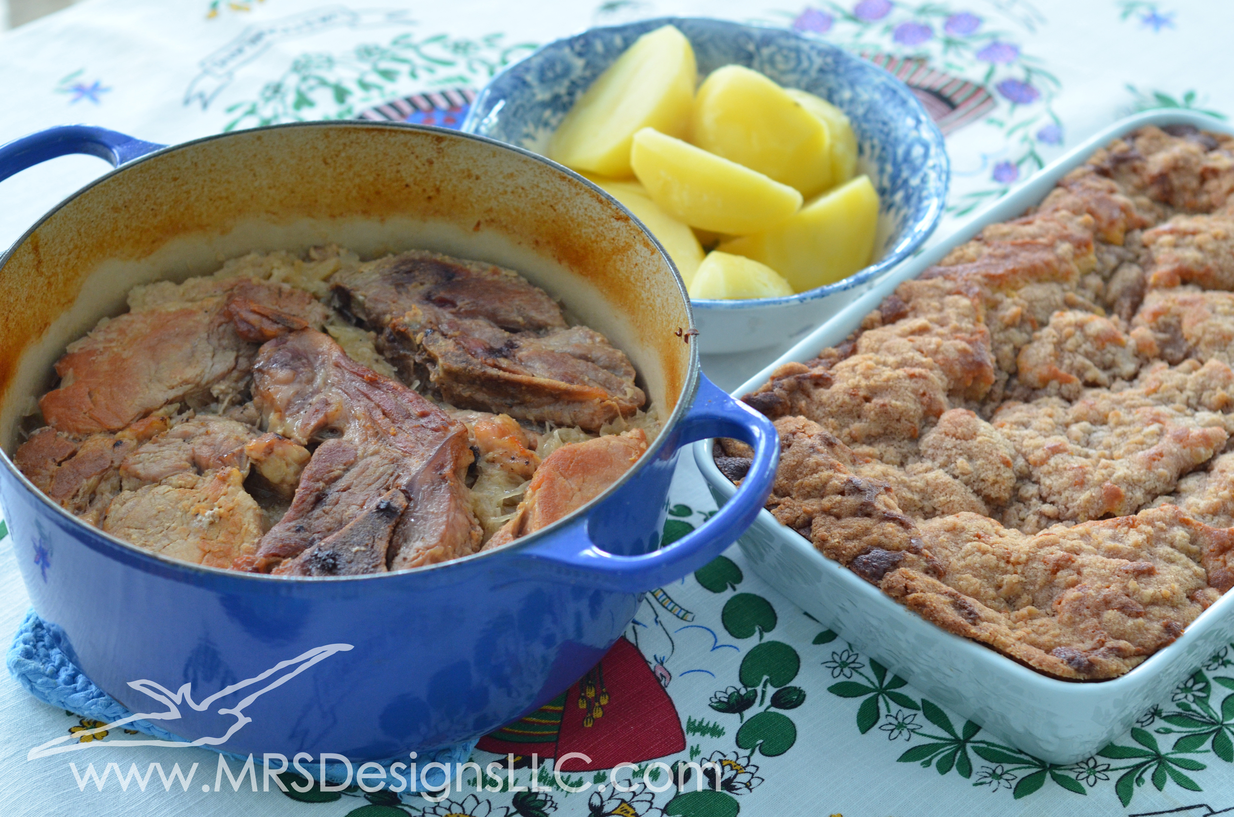 MRS Designs Blog - Sauerkraut with ribs dinner served with yukon potatoes and plum buckle for dessert