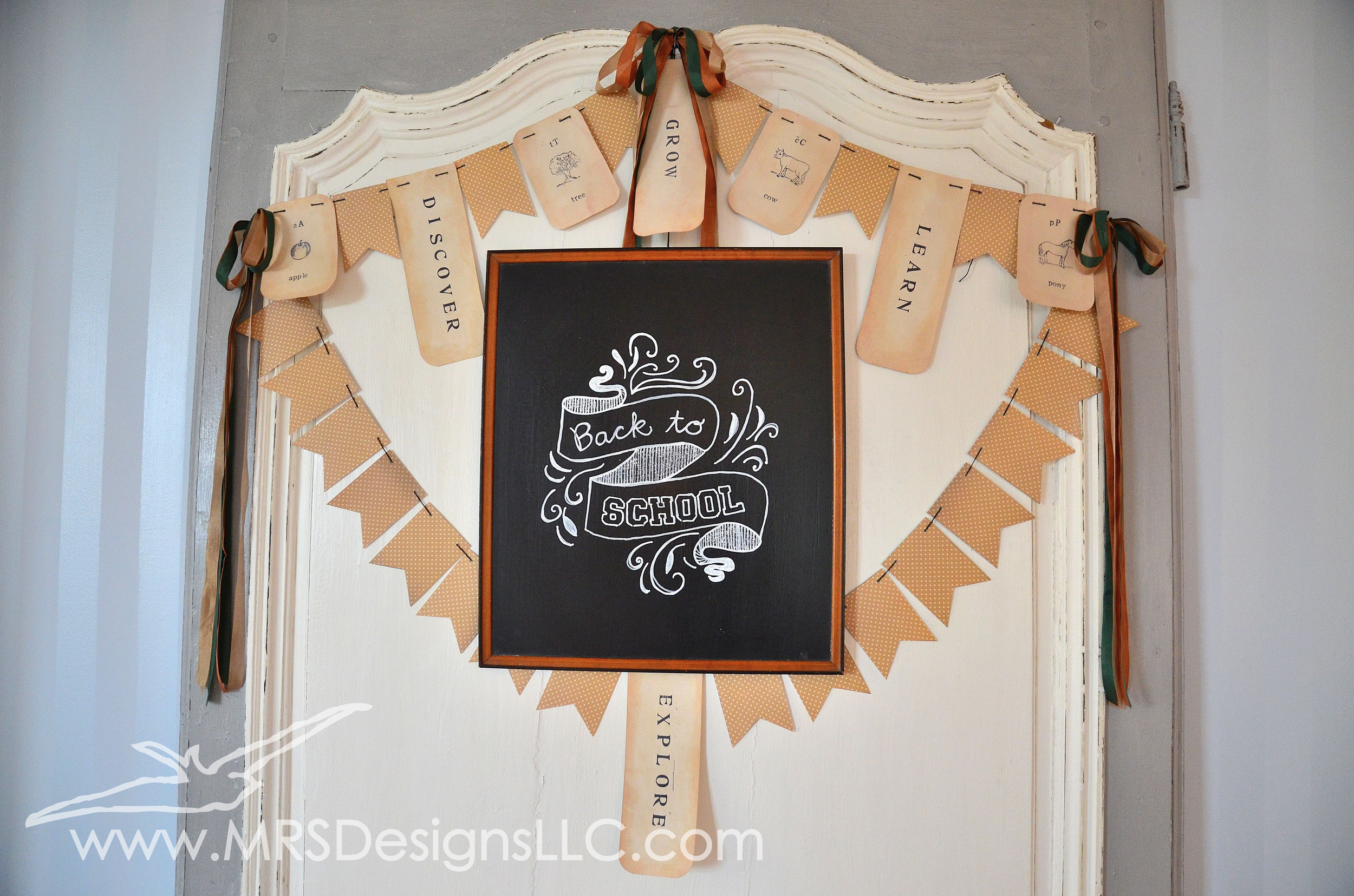 MRS Designs Blog - Refinishing a Vintage Door and Back To School Chalkboard Art with Bunting Banner