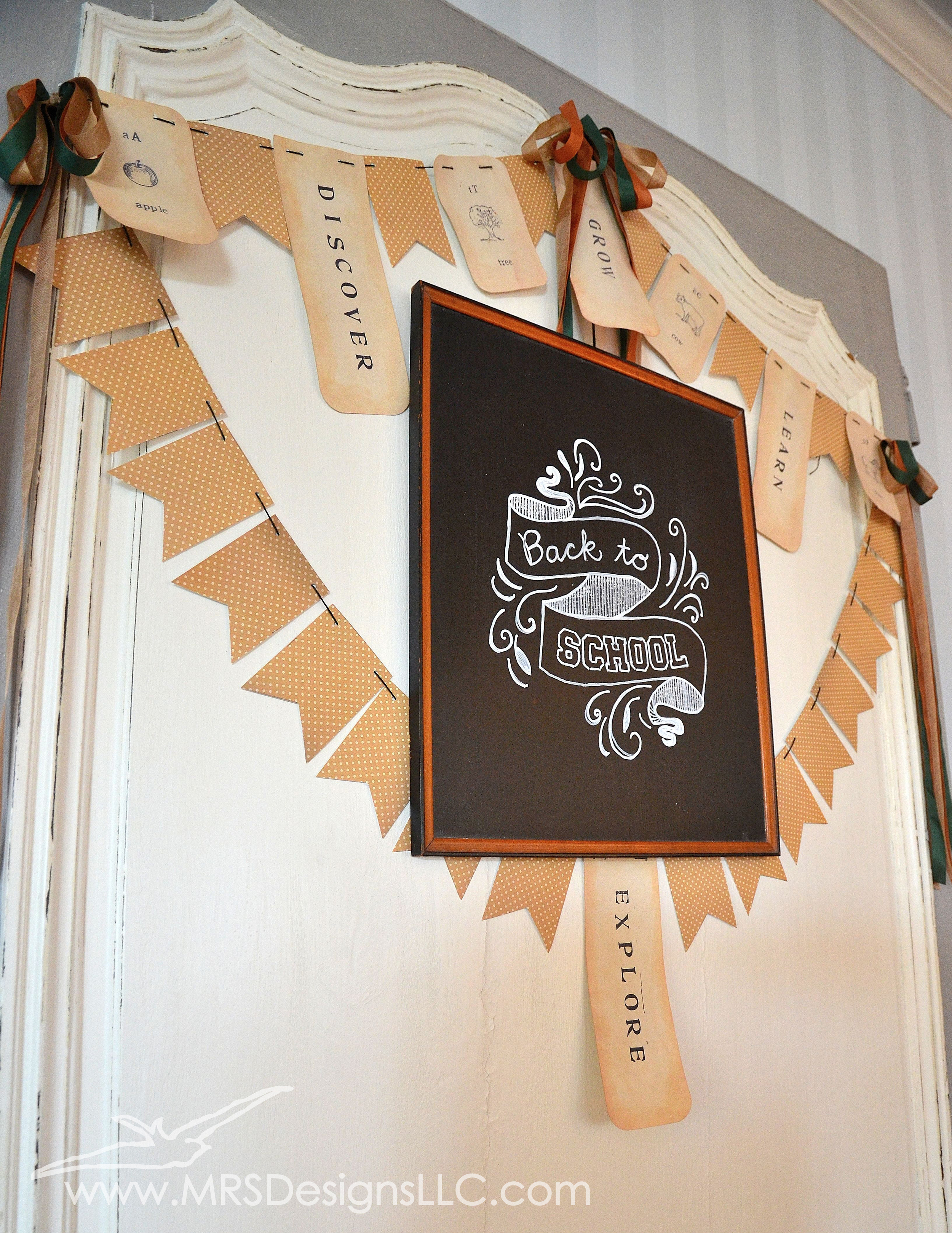 MRS Designs Blog - Refinishing a Vintage Door and Back To School Chalkboard Art and Bunting Banner