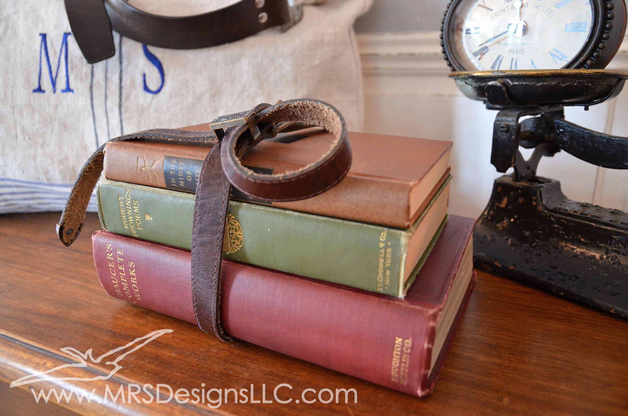 MRS Designs Blog - Back to School Decorating. Take a few books and wrap them with an old belt!
