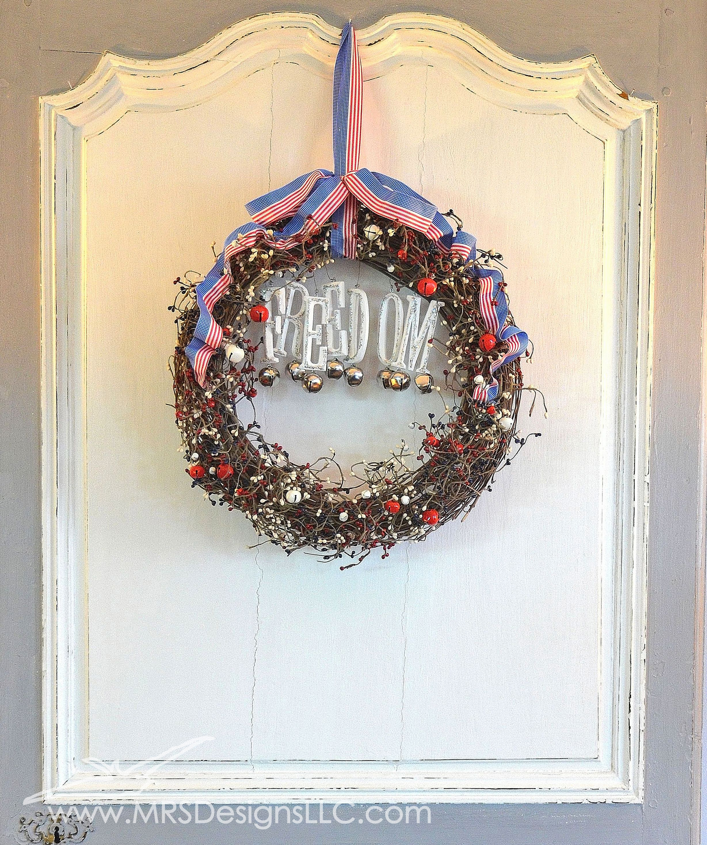 MRS Designs Blog - Refinishing a Vintage Door, Decorating for the Fourth of July