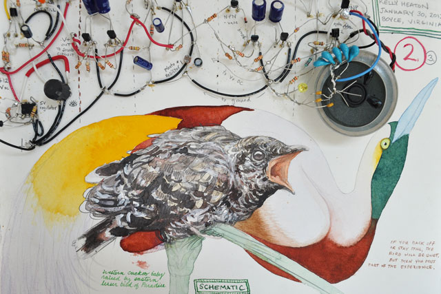 Restless Bird Chatters, Still Bird   (2012) electronics, watercolor and graphite on paper