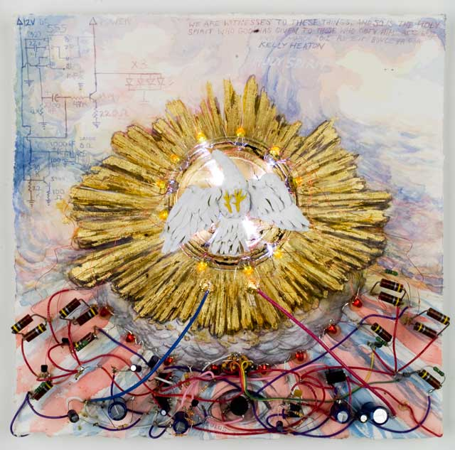 The Holy Spirit   (2012) electronics, watercolor and gold foil on paper