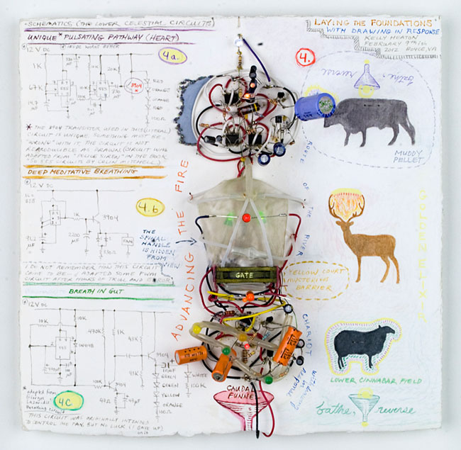 Laying the Foundations with Drawing in Response  (2012) electronics, plastic and colored pencil on paper