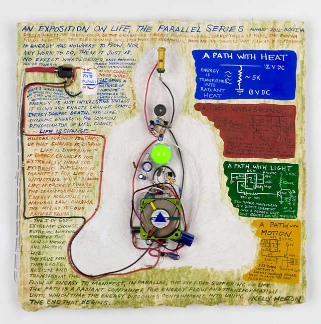 An Exposition on Life, The Parallel Series   (2012) electronics, guache and grass rubbing on paper private collection