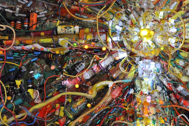detail of  Solar Plexus   (2009-2011) electronics and oil on canvas Private collection