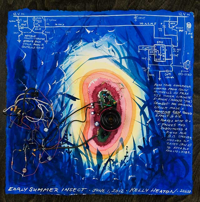Early Summer Insect   (2012) electronics, watercolor and guache on paper