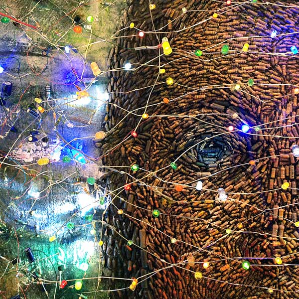detail of  Resisto Ergo Sum  (2005-2012) electronics, oil and paper sculpture on canvas