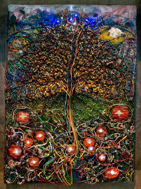 The Tree of Life and Death   (2005-2010) electronics, oil and paper sculpture on canvas