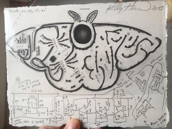 circuit diagram of a moth from  Electrolier (Summer Night)   2013