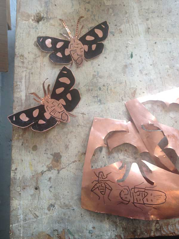 making insects for  Electrolier (Summer Night)   2013 laser printer transfer on flexible copper laminate